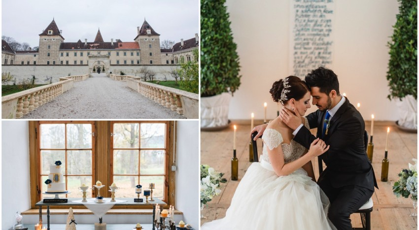 Styled Shoot: Belle – Hochzeitsinspiration in Blau & Gold