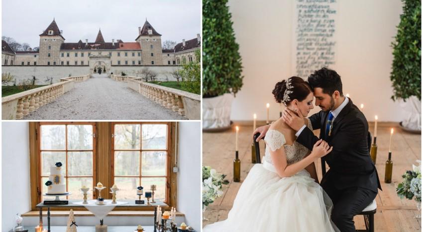 Styled Shoot: Belle – Hochzeitsinspiration in Blau & Gold