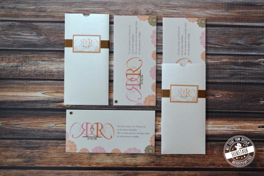 Feenstaub Hochzeitseinladung Hochzeitspapeterie Fächereinladung Fächer  Hochzeitskarten Vintage Pocketeinladung