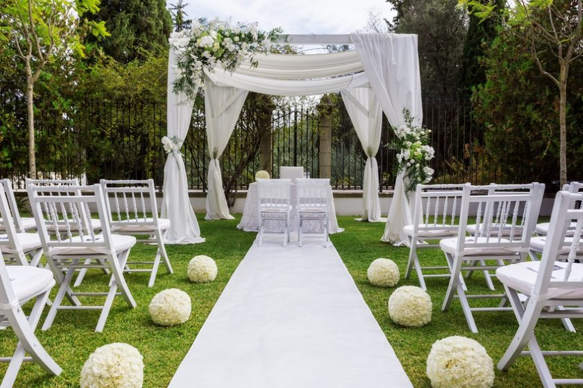 Wedding path and decorations for newlyweds
