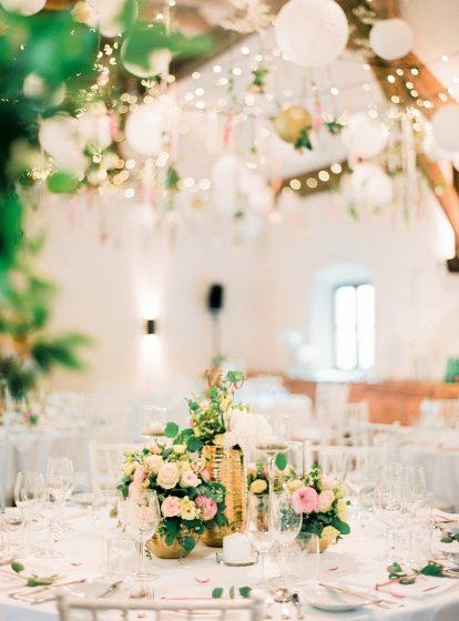 Tischdekoration gold rosa weiss Schloss Fuschl by Peaches & Mint