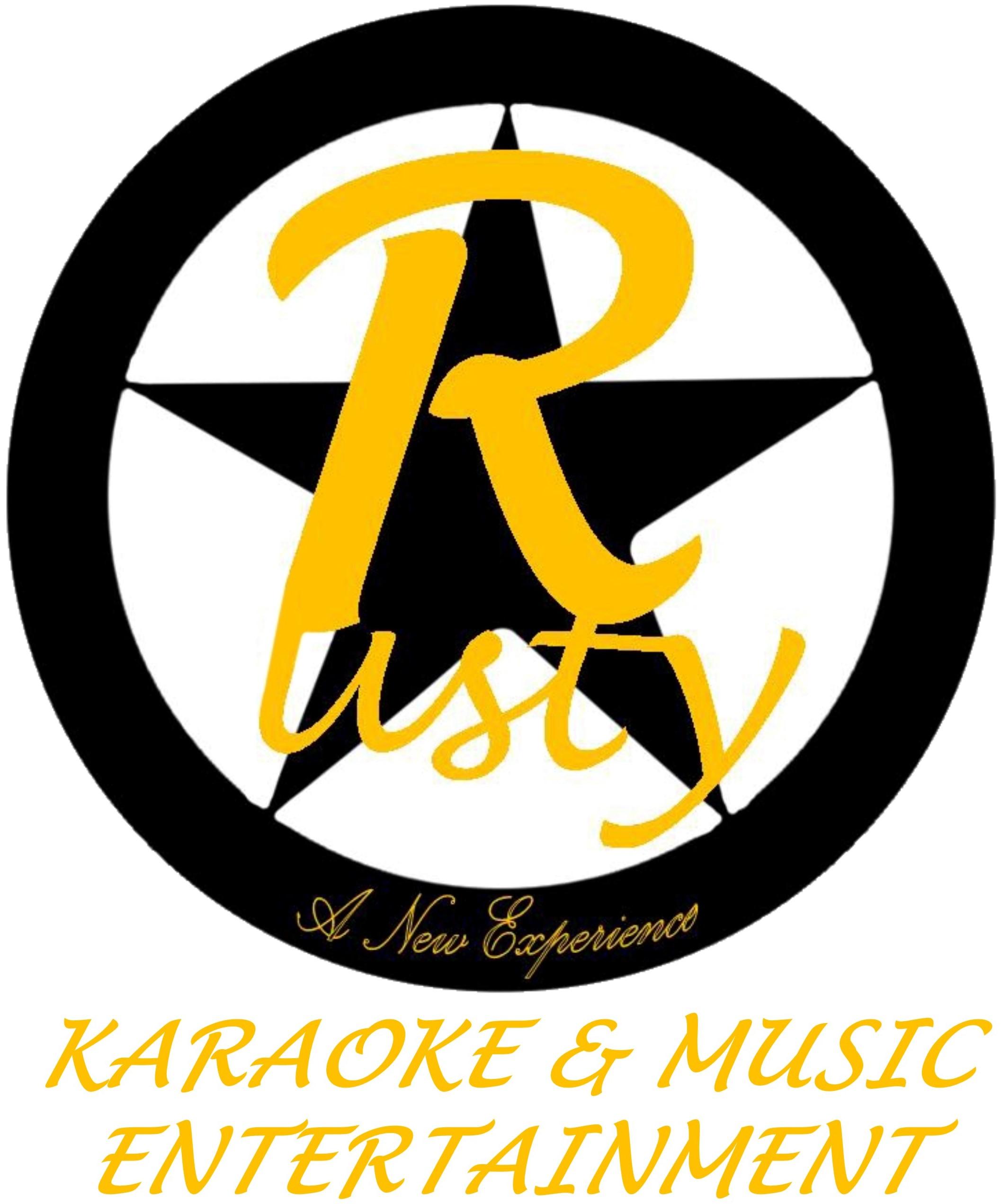 Rusty Karaoke&Music Entertainment schwarz auf weiss-Logo