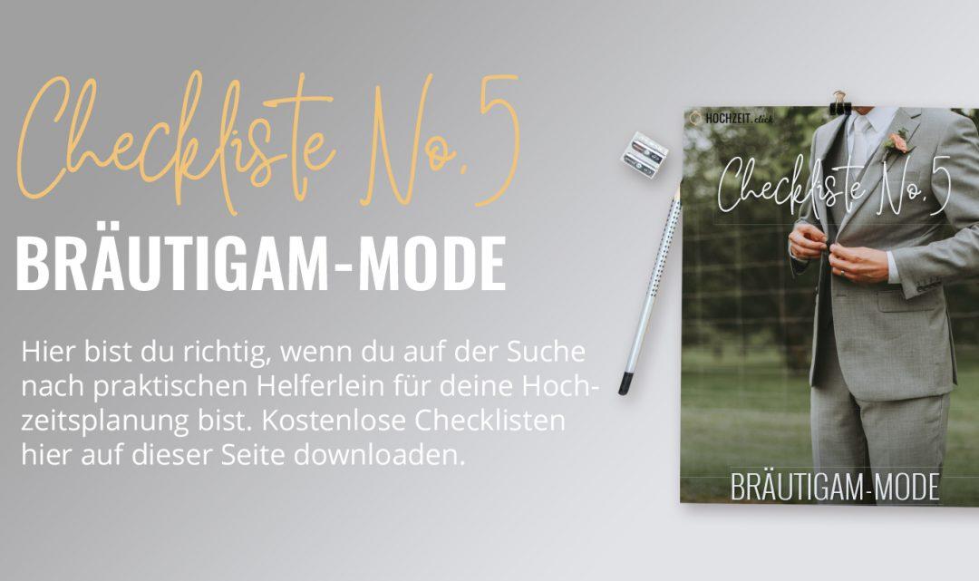Bräutigam Mode: Checkliste No5 (gratis PDF-Download)