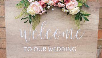 Schild - welcome to our wedding mieten guenstig