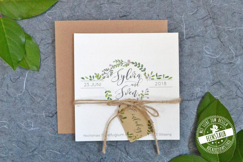 feenstaub-individuell-hochzeitspapterie-Kraftpapier-blätter-grün-kalligraphie-0423