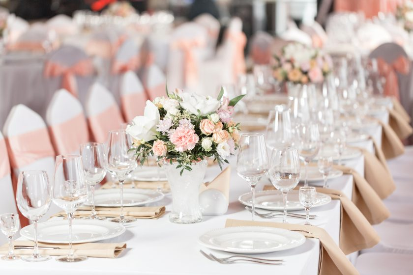 Tables set for an event party or wedding reception